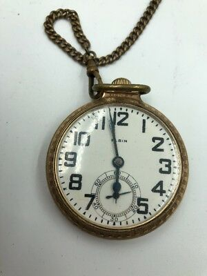 Elgin Openface Pocket Watch 12k Gold Filled 21j