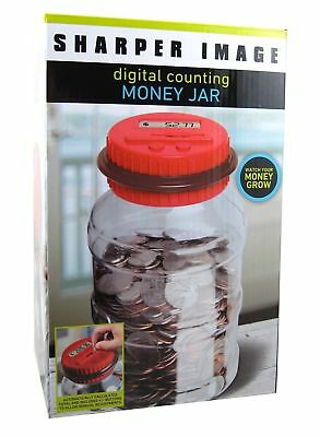 The Sharper Image Electronic Digital Coin Counting Money Jar, Red, 2 Pack