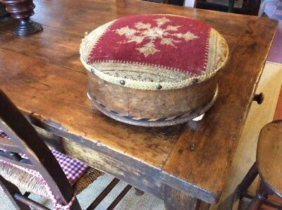 Victorian Inlaid Tapestry Footstool Porcelain Feet Tunbridgeware Parquetry