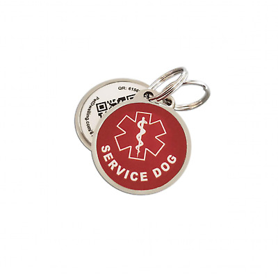 Service Dog QR Code ID Tag w/Online Profile/Photo ID/Medical info/GPS Location