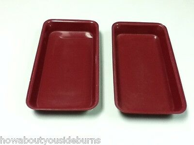 Deli restaurant bar rectangle burgundy serving tray platter bowl set of two AB4