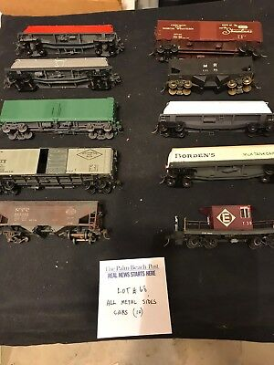 Ho Scale Trains All Metal Sides Cars  Lot # 68.  Ten Cars