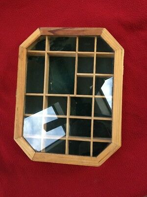 """Vintage Countertop Display Case Wood and Glass 15""""x11""""x2"""""""