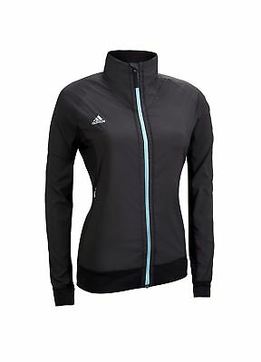Adidas Ladies Clima Proof Full Zip Golf Jacket Black/Cyan Medium