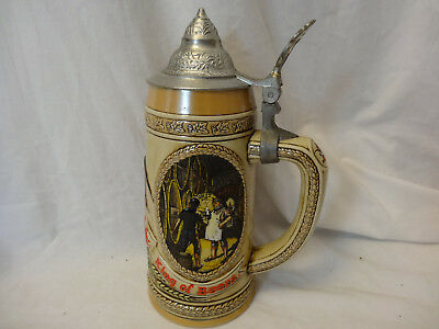 Vintage Anheuser Busch Budweiser King of Beers Stein with Lid D series Barware