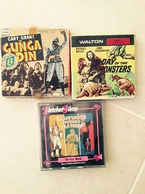 3 X Super 8 Film Bundle, Gunga Din, Day Of The Monsters, Lost World