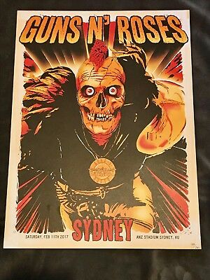 Rare Guns N Roses Lithograph Not In This Lifetime Sydney, AU 2/10/17 135/250