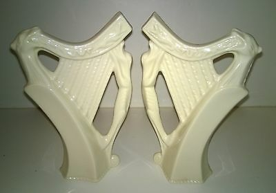 Beautiful Pair Vintage Irish Creamware Porcelain Harps With Mythical Creatures