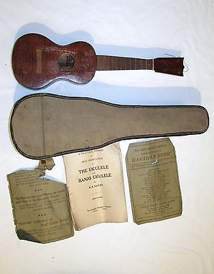 ANTIQUE OR VINTAGE KOA WOOD UKULELE w MUSIC_INSTRUCTIONS_CASE_IVORY NUT