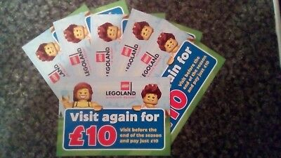 6  x Legoland Tickets £10 Entry - Adult/Child - Valid Half-Term