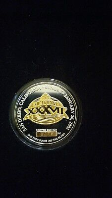 Official Game Coin Superbowl 37 Limited 7500 1oz Silver Gold Gilded