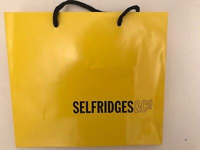 Small Selfridges Yellow hard Paper Bag Used Once Ideal For gift Bag