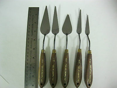 Set of 5pcs  -Artists Palette Knifes With Wooden Handles (MADE IN ITALY)