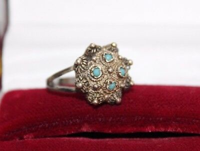 Etruscan Antique STERLING Silver Hand Spun CANNETILLE Turquoise Paste Ring 6 1/4