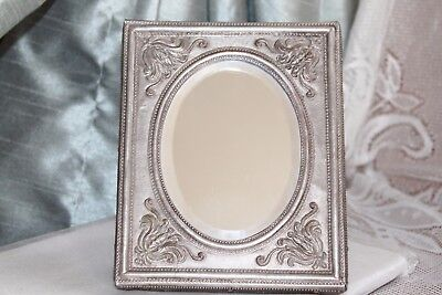 Ornate 5  x 6 ART DECO Brushed Silver Beveled MIRROR / Photo Frame