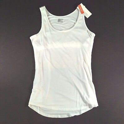 Gilligan & O'Malley Nursing Tank Top Cami Hi Lo White Built in Nursing Bra Sz L
