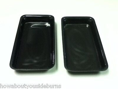 Deli restaurant bar black rectangle serving tray platter bowl set of two AC1