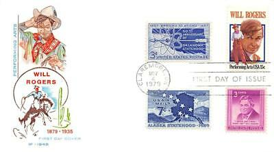1801 15c Will Rogers, First Day Cover Cachet,combo [D280162]