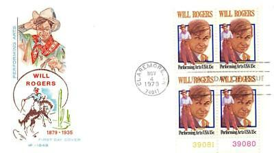1801 15c Will Rogers, First Day Cover Cachet,plate block [D280163]