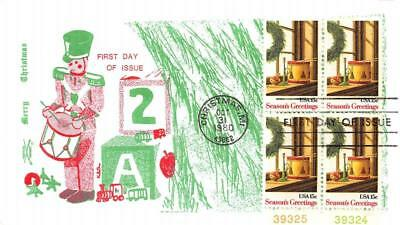 1843 15c Christmas Wreath & Toys, First Day Cover Cachet [D280179]