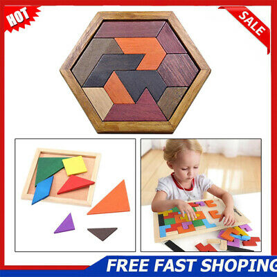 Wooden IQ Game Jigsaw Intelligent Tangram Teaser Puzzle Baby Kid Educational Toy