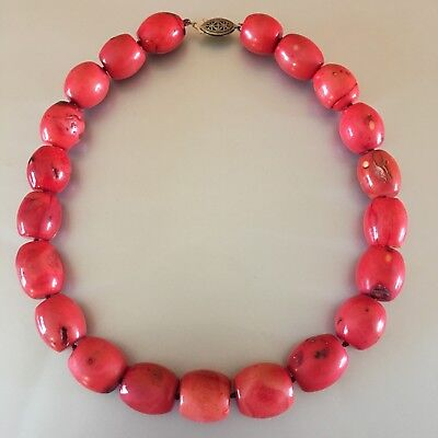 Antique Chinese Genuine Coral Sterling Silver Beaded Necklace Heavy 182 grams