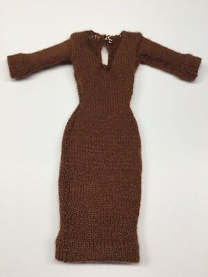 Randall Craig Brown Knit V-Neck Sweater Dress Silkstone Barbie Fashion Royalty