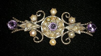 "ANTIQUE STERLING SILVER AMETHYST & SEED PEARL PIN BROOCH 2 3/8""(6 cm) x 1 1/8"""