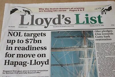 1 x LLOYDS LIST NEWSPAPER - Dated June 24th 2008 - No longer available now