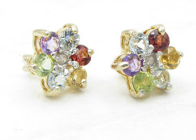 925 Silver & 18K Gold VICTORIA TOWNSEND Gemstones & Genuine Diamonds Earrings 2g