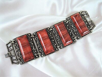 Ornate Vintage Wide Thermoset Bracelet**beautiful Deep Umber Color! Wow!