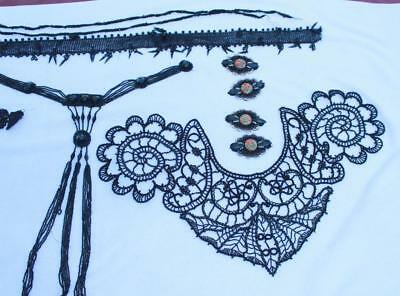 Antique Black Lot Victorian Edwardian Collars Lace Buttons Beads Lace Trim