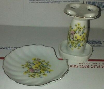 Vintage Floral Clam Shell Soap Dish & Tooth Brush Holder with Gold Tone Gilding