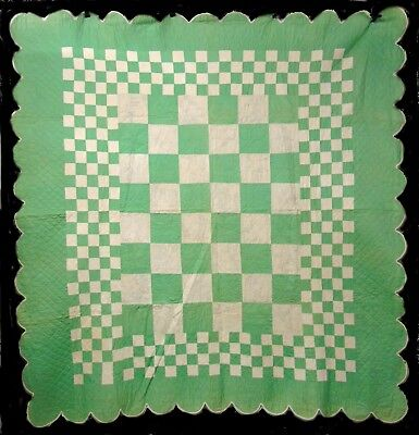 Vintage Hand Stitched Embroidered CheckerBoard Cotton Quilt Coverlet Bedspread