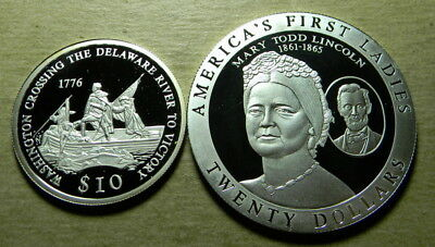 Liberia 2000 Silver Proof 10 Dollars and 2003 Silver Proof 20 Dollars