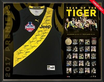 Richmond Tigers 2017 Official AFL Premiership signed and framed Guernsey display