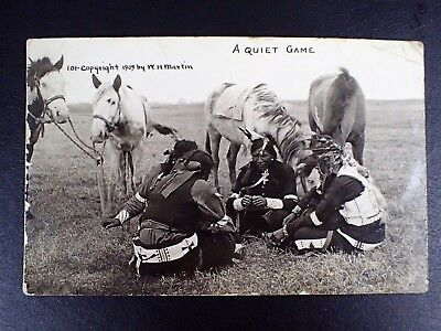 1909 W.h. Martin Rppc A Quiet Game Native-Americans Sitting Horses Beside Them
