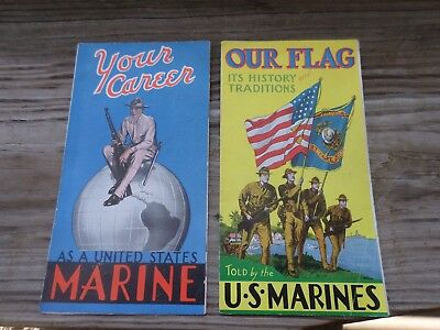 great early ww2 us marine corps enlist brochure poster lot of two ww2 usmc 1938