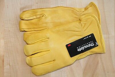 3M Thinsulate Lined Grain Deerskin Leather Insulated Winter Work Gloves Small