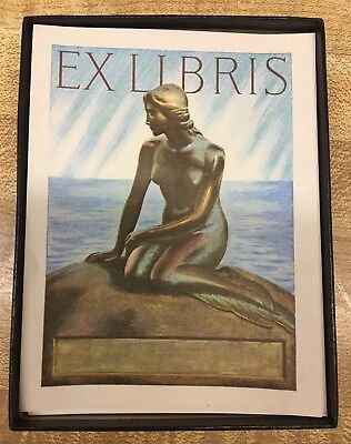 "Box Of 40 VINTAGE EX LIBRIS ANTIOCH  BOOKPLATES ""Little Mermaid ~ Copenhagen"""