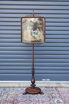 Antique Rosewood Pole Screen.