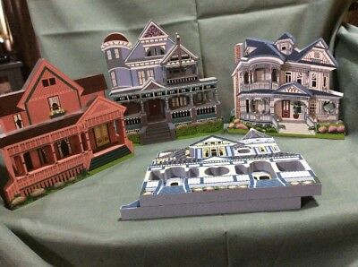 Lot Of 4 Shelia's Wooden Collectible Houses-