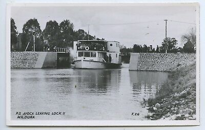 Rp Postcard Paddle Steamer Avoca Leaving Dock 11 Mildura R Murray Victoria T65.