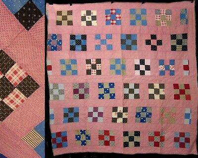 Vintage Hand Stitched 9 Patch Block FeedSack & Cotton Quilt Coverlet Bedspread