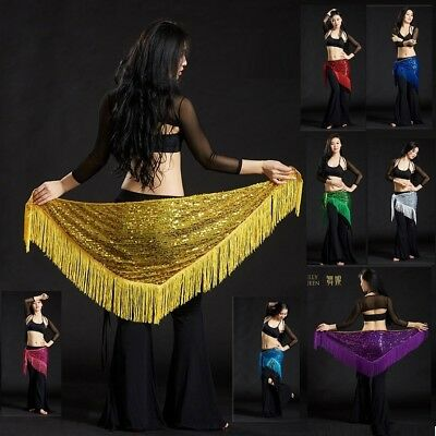 Belly Dance Sequined Triangle Fringe Hip Scarf Wrap Belt Dancing Costume AB19