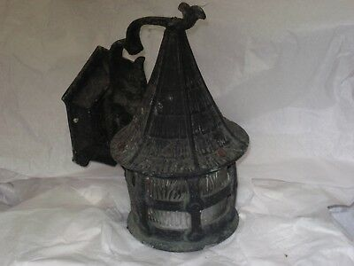 ANTIQUE Gothic Tudor Arts & Crafts Glass Witch's Hat Cottage Porch Light Mission