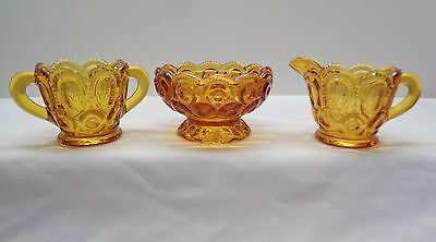 Le Smith Amber Moon & Stars Creamer Sugar & Dish- Excellent