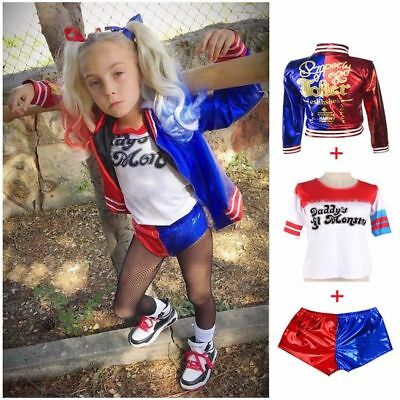 Fast Shipping Kids Suicide Squad Harley Quinn Halloween Cosplay  Suit L-XXL