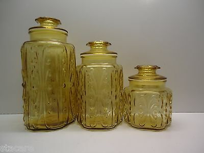 3 Le Smith Amber Atterbury Scroll Canister Set No Chips Cracks Airlock Lids