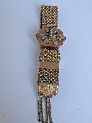 Antique Victorian Slide Mesh Bracelet Gold Filled With Seed Pearls
